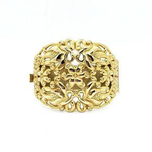 Vintage Goldtone Filigree Clasp Cuff Bracelet